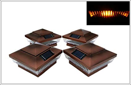 12-Pack Solar Copper Finish Post Deck Fence Cap Lights for 4