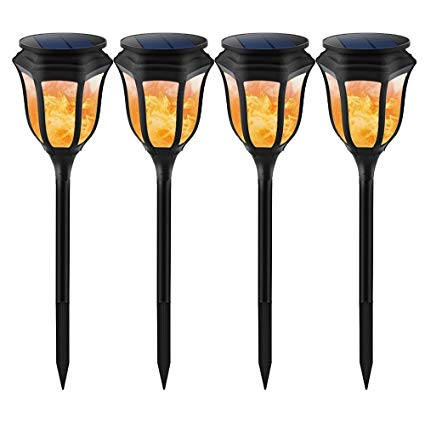 Kshioe Solar Path Light,Waterproof SMD 96 LEDs Torch Style Outdoor Dark Sensor On/Off Hexagonal Lanterns Dancing Flames Night Lighting for Garden Pathway Patio Deck Yard Driveway Decoration(4 PACK)
