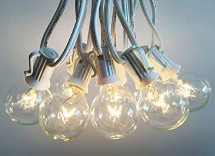 Outdoor Light String 100ft Globe Patio String Lights - 100 foot White Light Strings w/ Clear G40 bulbs UL Edison Lights include spares