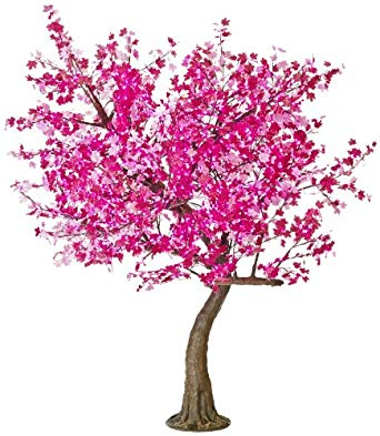 Arclite NBL-TTM-280-2 Aboretta Maple Tree with Pink Textile Leaves, 10' Height, with Natural Brown Trunk, Pink Lights