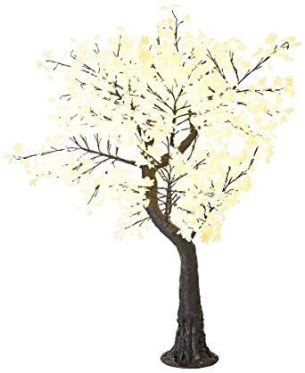 Arclite NBL-TTM-180-6 Aboretta Maple Tree with White Textile Leaves, 7' Height, with Black Trunk, Warm White Lights