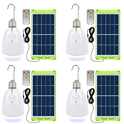 NINGZEXIN Solar Powered Light LED Bulb With Solar Panel Multi-functional Waterproof Rechargeable Remote Control Dimmable Hanging Lamp Tent Bulb Protable Lighting for Home, Camping, Emergency(pack 4)