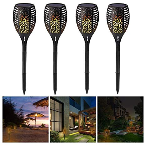 HIOTECH LED Outdoor Solar Path Lights Waterproof Landscape Lighting Led Solar Torch Lights for Pathway Yard Walkway Patio Garden (4 Pack)