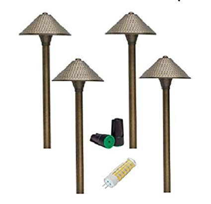 LUMIÉRE 4 Pk LED Low Voltage Solid Brass Brass Path Light/12V LED Architectural outdoor Landscape Lighting