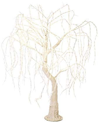 Arclite NBL-TW-190-3 Meadow Weeping Willow Tree, 7' Height, with White Trunk, Clear Crystals and Warm White Lights