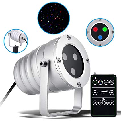 Christmas Laser Light with Red/Green/Blue Light, Ominilight Aluminum Alloy Star Laser Show, RF Wireless Remote, Holiday Outdoor Projector Waterproof