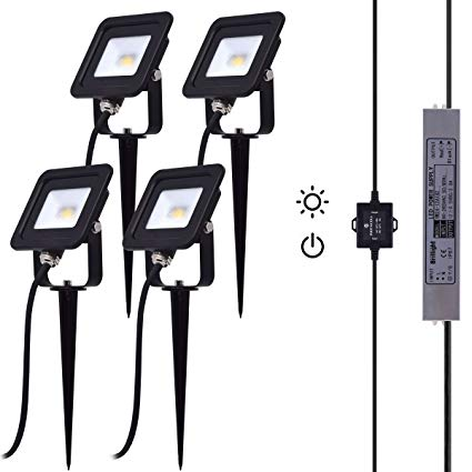 10W DC 12V Dawn to Dusk LED Flood Light Kit incl Photocell Sensor Switch, Power Supply and Extension Cables for Outdoor Landscape Lighting (Pack of 4, Warm White)