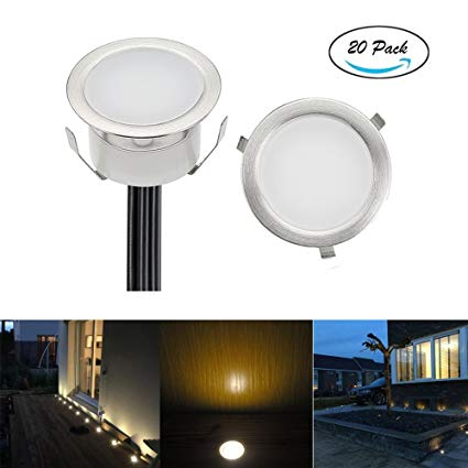 FVTLED Low Voltage LED Deck Light Waterproof Outdoor Garden Yard Decor Lamps Recessed Wood Decking Stair Landscape Pathway LED Step Lighting (20pcs, Warm White)