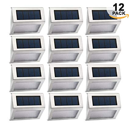 Easternstar Solar Light,Outdoor Waterproof Stainless Steel Solar LED Step Light Illuminates Stairs Patio Deck Yard Garden Outsides Path Fence Post lamp (12 Pack)