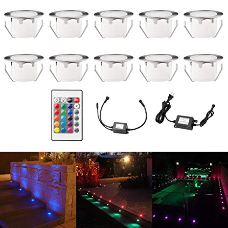 Color Changing Led Deck Lights Outdoor IP67 Waterproof Low Voltage Stainless Steel Recessed in-Ground Patio Deck Step Lighting Kits for Landscape Garden Driveway with Remote Control Pack of 10 (RGB)