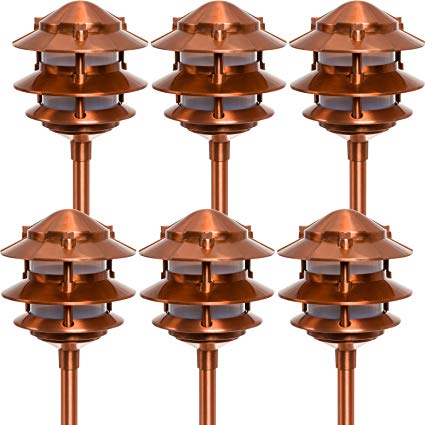 Paradise GL22764 Low Voltage Cast Aluminum 11W Path Light (Copper, 6 Pack)