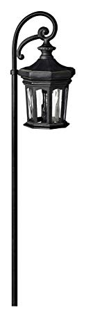 Hinkley Lighting 1513MB Raley Path Light, 18 Watt T5 Wedge Base Light Bulb, Museum Black