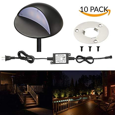LED Deck Lights Kit, FVTLED Pack of 10 Low Voltage LED Step Stair Lights Φ1.97 Outdoor Garden Yard Decoration Lamp Recessed Landscape Pathway Step Stair Warm White LED Lighting, Black