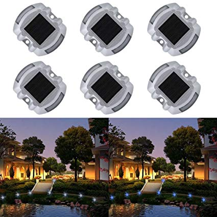 Solar Deck Light, Water-chestnut 6 Pack LED Solar Dock Path Road Lights Marker lighting, Waterproof Security Warning Lights for Outdoor (White light)