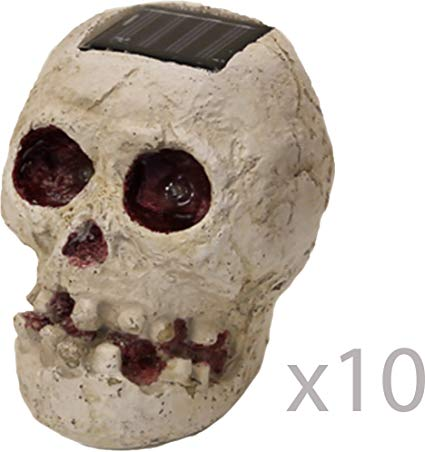 (10 Pack) SKULLar - Solar Powered Outdoor Halloween Skull Fright Light