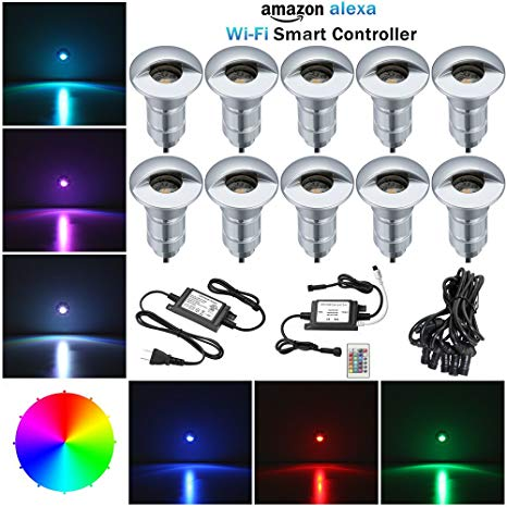 APP Controlled RGB Led Step Lights, FVTLED 10pcs Security Driveway Lights Low Voltage Outdoor WiFi Remote Control Light Work with Alexa Google Home IFTTT