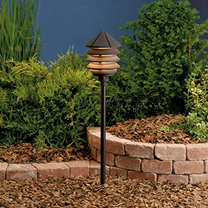 Kichler 15005AZT Six Groove Path & Spread 1-Light 12V, Textured Architectural Bronze