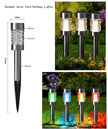 Set of 8 Stainless Steel Color Changing Solar Power Landscape Lawn Pathway Stake Lights