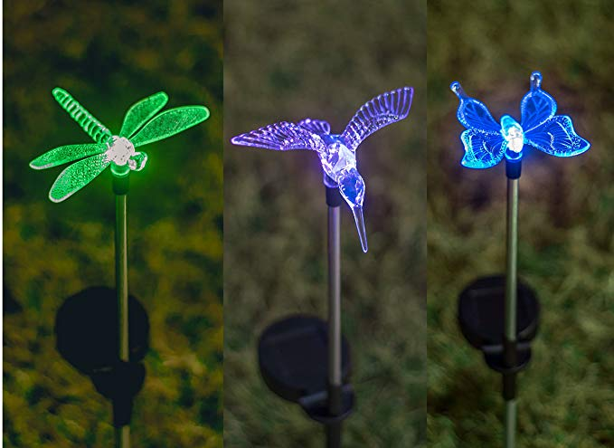 Grant Park 3-Piece Color Changing Bright LED Solar Lights - Butterfly, Dragonfly & Hummingbird for Outdoor Landscape Yard Pathway Garden Flower Bed Lighting