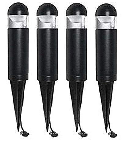 Pack of 4 Malibu 8401-9303-03 LED Mini Bollard Landscape Lights, 2 watt, Low Voltage for Yards, Pathways, Gardens w/ Black Finish BY MALIBU DISTRIBUTION
