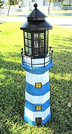 Solar Powered 4 Amer LED White and Blue Striped Fiberglass Lighthouse
