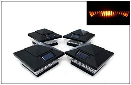 14-Pack Solar Black Post Deck Fence Cap Lights for 4