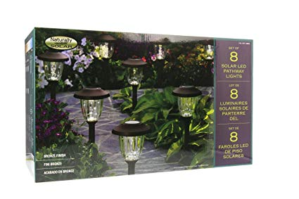 Naturally Solar 8 Piece LED Solar Pathway Lights Set Bronze Finish 6 Lumens