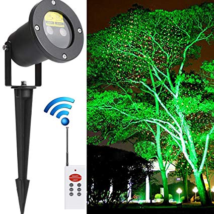 LED Garden Projector Lights Static Christmas Laser Light Star Shower IP67 Waterproof Outdoor Led Light Projector, Holiday Party Landscape Garden Decorations, Remote Control Included