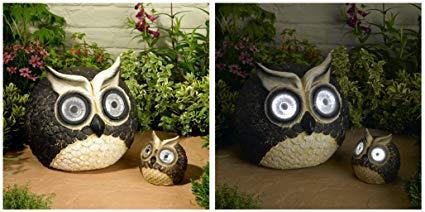 Solar Owl Accent Set - Great Garden Art, Auto Illuminate LEDs